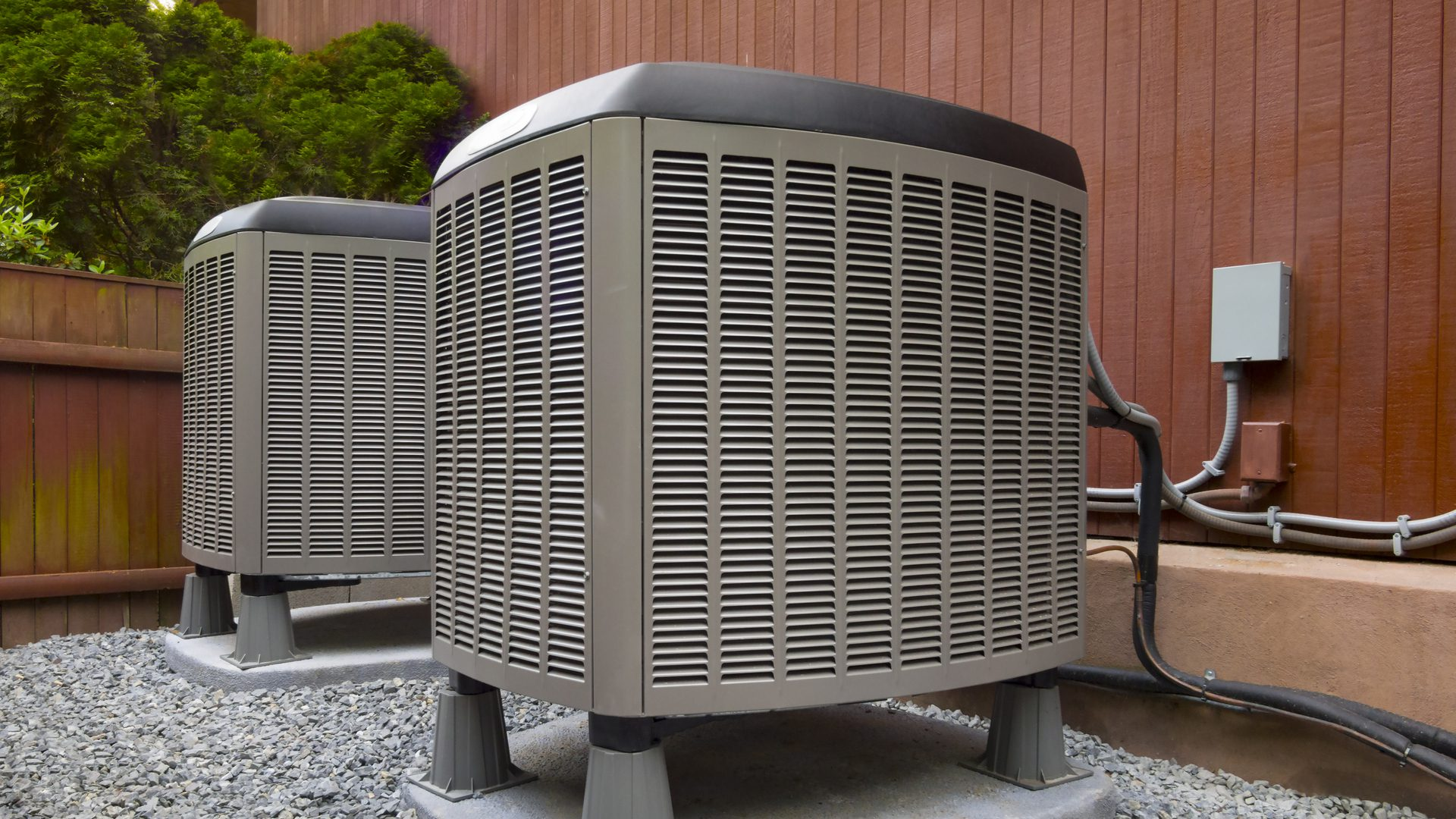 an HVAC system outside of a home